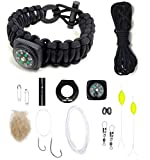 The Ultimate Paracord Survival Kit Bracelet (Small Black with Compass)