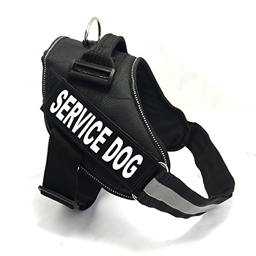 Fairwin Dog Service Vest, Help Dog Vest Easy Walk Harness Reflective with Patches for Large Medium and Small Dogs (S : Fits Girth 17-22in, Black) (Black Service Dog Vest compare prices)