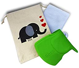 Bath Toy Organizer & *GREEN* Silicone Spout/Faucet Cover Guard Baby Gift Set in Custom Elephant Gift Bag - Perfect Gift For Girl or Boy- Protects Child\'s Head From Faucet.