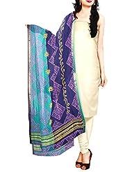 Unnati Silks Women Green And Navy Blue Pure Mangalagiri Cotton Dupatta