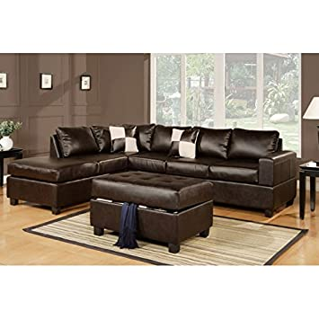 Boss Furniture F7351 Modern Espresso Leather Sectional Sofa With Reversible Chaise And Ottoman