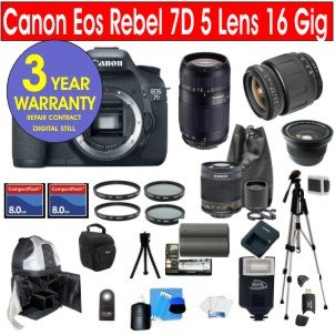 Canon EOS 7D 18 MP Digital SLR Camera + Tamron AF 28-80mm Conventional Standard Zoom Lens + Tamron 75-300 Standard Telephoto Zoom Lens + 500mm Mirror Lens + 2x T-Mount Lens + .40x Wide Angle Lens Macro + Rokinon 500mm HD Telephoto Zoom Lens with 2x Converter (=1000mm) + (2) 8 GB Memory Cards + (2) UV Filters + (2) Circular Polarizer Filters + 57
