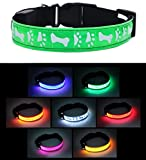 愛犬用 光る首輪 LED ライト 点滅 点灯 テスト電池付属 夜間 散歩 (グリーン, S)