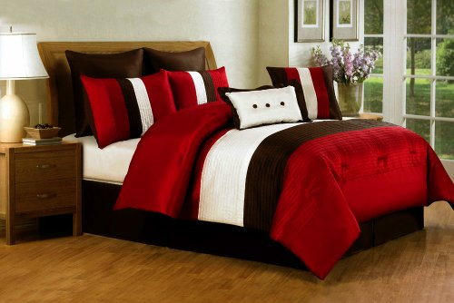8 Pieces Red Off White Brown Luxury Stripe Comforter Set