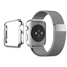 Apple Watch Band, Biaoge Steel Milanese Loop Replacement Wrist Band with Plated Case for Apple Watch (Silver 42mm)
