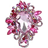 EVER FAITH Women's Rhinestone Crystal Gorgeous Water Drop Floral Knot Brooch Pink Silver-Tone