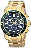 Invicta Mens Pro Diver Scuba Swiss Chronograph Black Dial 18k Gold Plated Watch 80074 Reviews