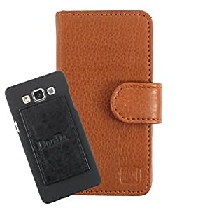 DooDa Genuine Leather Wallet Flip Case Cover With Card & ID Slots For Panasonic T45 - Back Cover Not Included Peel And Paste
