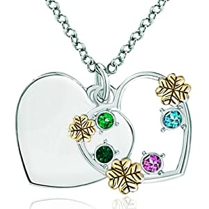 Pugster 925 Sterling Silver Colorful Crystal 18k Gold Clover Heart Engraved Custom Pendant Necklace