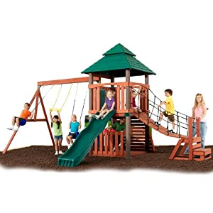 Swing N Slide Sherwood Tower with Deluxe Rope Bridge, 2 Swings, Ring/trap Combo, Magnetic Chalkboard