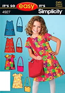 Simplicity Pattern 4927 It's So Easy Child Dress and Bag Size, 3, 4, 5, 6, 7, 8 from Simplicity