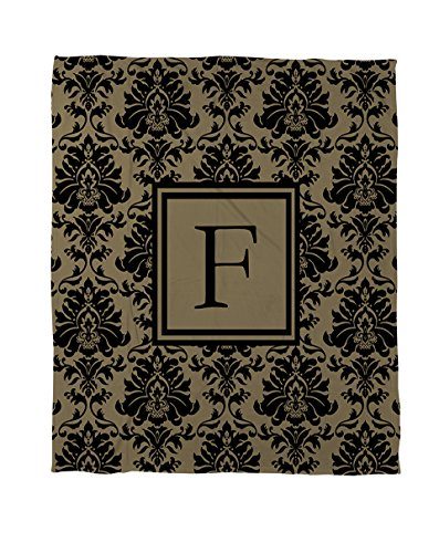 Thumbprintz Coral Fleece Throw, 50 By 60-Inch, Monogrammed Letter F, Black And Gold Damask front-477333