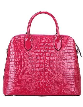 Classic Collection Women's 100% Genuine Patent Leather Crocodile Embossed Leather Handbag Leather Tote Bag