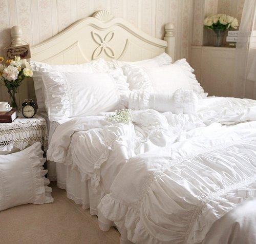 FADFAY Home Textile,White Ruffle Bedding Set,Luxury Beautiful Princess Ruffle Bedding Set,8Pcs