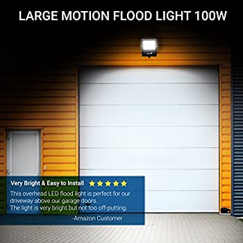 Hyperikon Outdoor LED Flood Light with Motion Sensor, 100W (400W Equivalent) 10000 Lumens, 5000K, LED Security Light, 120v, IP65 Waterproof - For Security, Light Poles, Events