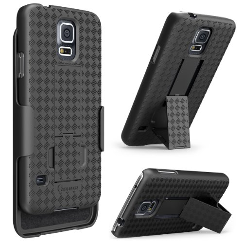 Galaxy S5 Case, i-Blason Transformer Slim Hard Shell Case Holster Combo with Kickstand and Locking Belt Swivel Clip for Samsung Galaxy S5 [Fits AT&T, Sprint, Verizon, T-Mobile] (Black) (Tmobile Samsung Galaxy S5 Case compare prices)