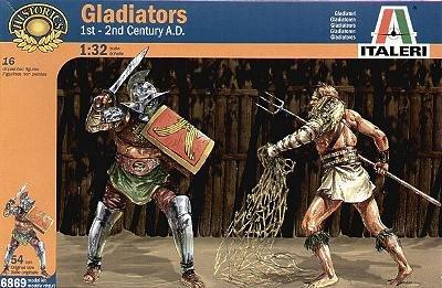 Gladiators 1st & 2nd Century AD 12 Figures w-2 Bears & 2 Lions 1/32 Italeri