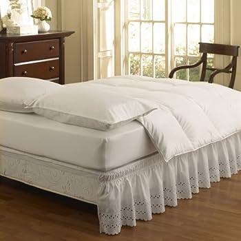 Easy Fit Ruffled Eyelet Bed Skirt, Queen/King, White
