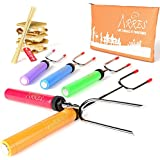 """Marshmallow Roasting Sticks kit - 34"""" Telescoping Stainless Steel Set Forks for S'mores and Hot Dogs- Kids can use them as skewers over campfire or fire pit - FREE Canvas Pouch and 10 Bamboo Sticks"""