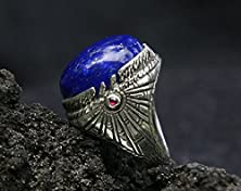 "buy Sterling Silver Lapis Lazuli Ring ""Ra"" Inlaid With 2 Ruby Made To Order, Mens Ring, Mens Gemstone Ring, Egypt Ring"