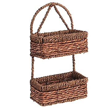 2 Tier Brown Woven Seagrass Wall Hanging Organization Storage Basket