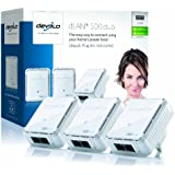 Devolo dLAN 500 Duo Powerline Network Kit (2 LAN Ports, Small, 500 Mbps, 3 Plug Pack)