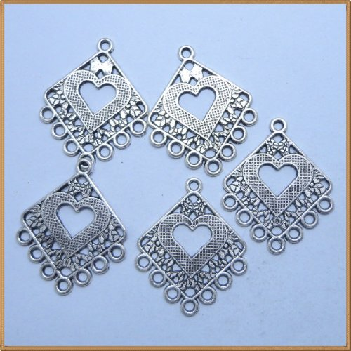Tibetan silver Rhombic shape Charms Pendant Beads Findings 10 Pcs (30mm x 25mm)