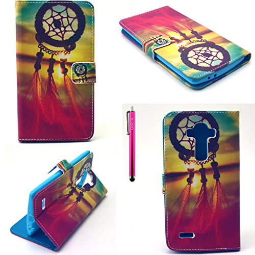 LG G4 Case, JCmax [Ladies Series] Colorful Top Grade Synthetic Leather Wallet Case [2 Layer Protection] Slip & Scratches Resistant For LG G4 (Free Gifts: 1x Stylus)-Dream Catcher