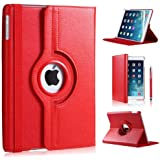RED 360 ROTATING FLIP LEATHER CASE COVER FOR THE NEW IPAD MINI / MINI-2 / MINI-3 WITH SCREEN PROTECTOR AND STYLUS WITH FREE UK DELIVERY
