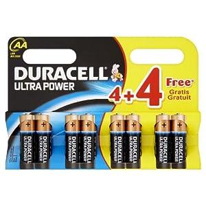Duracell Ultra Power MX1500 Alkaline AA Batteries - 4-Pack + 4 Free