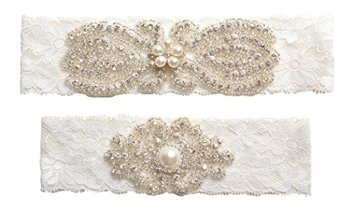 Wishprom Rhinestones Lace Wedding Bridal Garter Belt Set, Ivory