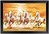 #10: CraftJunction White Lucky Sevan Running Horses Art Print Design Matt textured UV Canvas Painting(14*20 Inches)