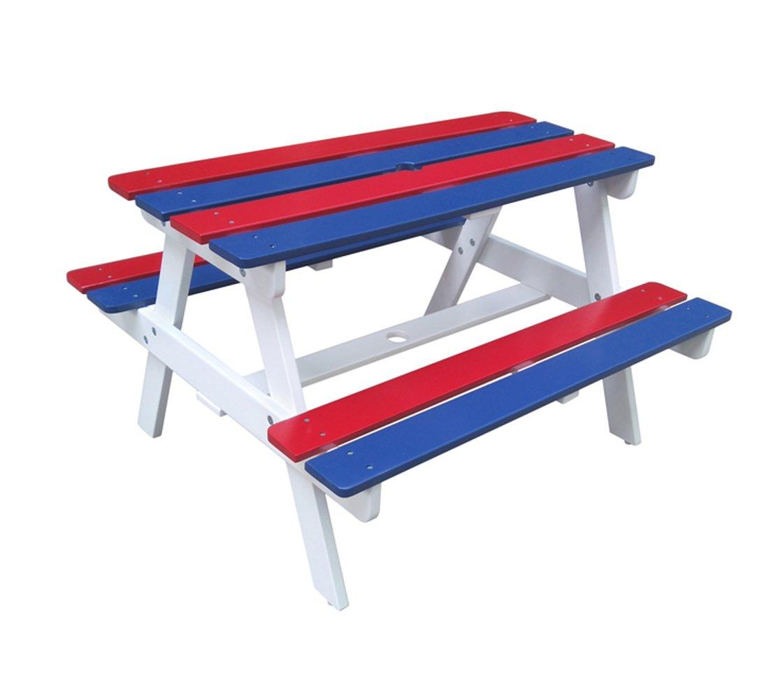 Dehner Kids, Picknickset Jack, ca. 90 x 80 x 54 cm, FSC Akazienholz, weiß/blau/rot günstig