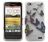 ITALKonline ProGel BUTTERFLY FLOWERS WHITE PINK RED Super Hydro Gel TPU Protective Armour/Case/Skin/Cover/Shell for HTC One V OneV