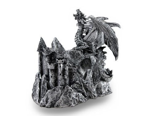 Gothic Dragon and Castle Single Bottle Holder Display