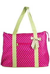 Ever Moda Polka Dot Extra Large Tote Bag with Coin Purse, Small Dots, Pink and Green