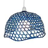 Lighting Web Company Scalloped Dome Shade in Lacquered Bamboo, Blue