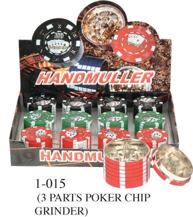 3 Parts Aluminium Green Poker Chip Polinator Herb Grinder