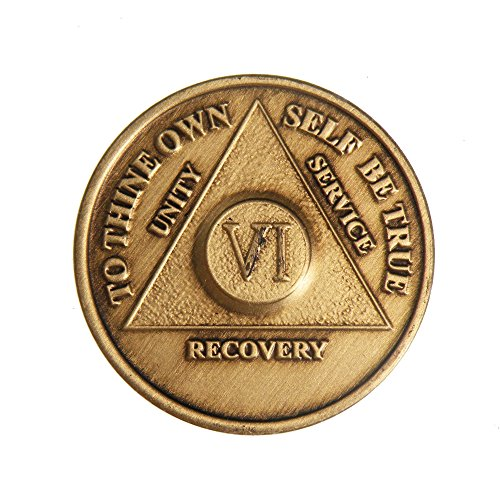 6 Year Bronze AA (Alcoholics Anonymous) - Sober / Sobriety / Birthday / Anniversary / Recovery / Medallion / Coin / Chip by Generic
