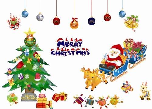 [クリスマスシリーズ] サンタ トナカイ ツリー ベル オーナーメント プレゼント 防水 ウォールステッカー 100cm×70cm 張り直し可能 A116