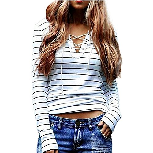 Long Sleeve Tops JUNKE Women Stripe T-Shirt Blouse (M) (Clothes Women Sweaters compare prices)