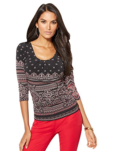 New York & Co. Women's - Pleated Top - Print Small Black (New York And Company Tops compare prices)