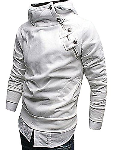 LAZERE Men Warm Stylish Hooded Side Zip Sweatshirt Slim Fit Hoodie, White Medium (Mens Hoodie Side Zip compare prices)