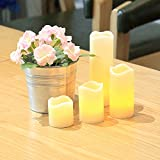 InnooLight Flameless Candles Remote Led Christmas Lights Flickering Pillar Candle Lamp Real Wax Battery Operated Lights for Wedding,Party,Bedroom Decoration,Warm White 8 Extra Batteries Included Set of 4