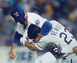 Nolan Ryan Autographed Fight vs Ventura Texas Rangers 16x20 Photo by DenverAutographs