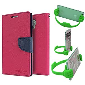 Aart Fancy Diary Card Wallet Flip Case Back Cover For Mircomax Uuphoria - (Pink) + Flexible Portable Mount Cradle Thumb Ok Stand Holder By Aart store