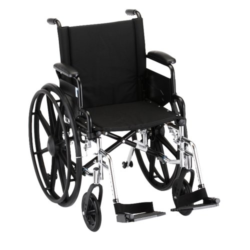 NOVA Medical Products 7180L Lightweight Wheelchair with Detach Desk Arms and S/A Footrests, 18