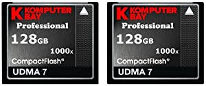 KOMPUTERBAY 2 PACK - 128GB Professional COMPACT FLASH CARD CF 1000X 150MB/s Extreme Speed UDMA 7 RAW 128 GB