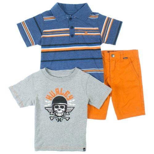 Hurley Boys 2-7 3-Piece Polo Shirt, Tee & Chino Shorts Set 4T Legacy Navy front-984770