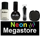 Stargazer Halloween Black Gothic Kit Including White Liquid Foundation / Black Nail Polish / Black Eyeshadow & Black Lipstick